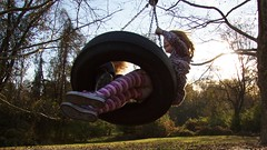 Childhood,  Day 117/365 (EspressoTime) Tags: sunset green art fall childhood canon photography photo moving holding image wind sneakers tireswing photograph 365 leggings project365 espressotime nathanharrison