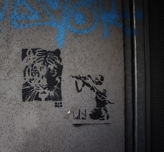 Tiger unter Beschuss (Coloured City Vienna) Tags: vienna wien streetart graffiti stencil tiger urbanart hunter schablone jger siebensterngasse