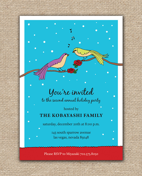 Holiday Sparrows Singing Invitation Party Design Invitation - DIY Printables, holiday, celebration, birthday, party, Hanukkah, Christmas