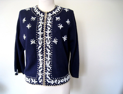Beaded Butterflies Navy Blue Cardigan Sweater, Vintage 50's