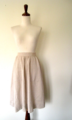 Soft Beige Full LINEN Skirt, Vintage 70's