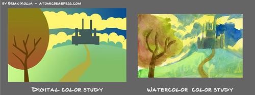 watercolor based digital color study 1