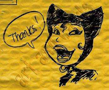 Catwoman envelope sketch - by Danielle Soloud