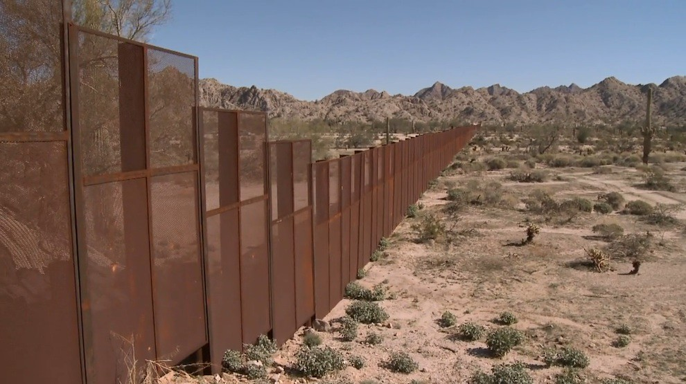 The solid metal US-Mexico wall