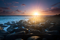 (Pawel Papis Photography) Tags: ocean sky cloud sun water rock sunrise coast wave filter hitech goldcoast burleighheads