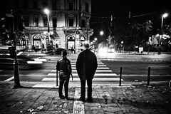 Two (E y e V i s i o n) Tags: life street city light people urban bw woman man car night town shine traffic budapest documentary everyday ordinary