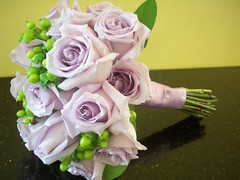 bouquet of berries and roses (azaleafloraldesign) Tags: wedding roses green berries lavender bouquet