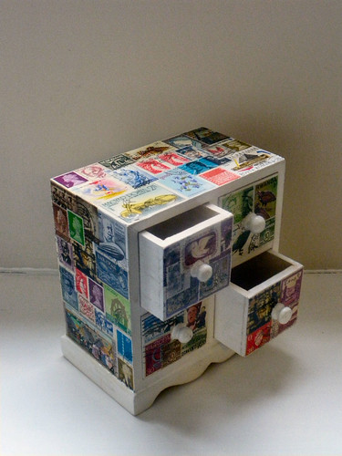 Decoupaged Stamp Drawers