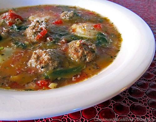 Mini Meatball and Ravioli Soup
