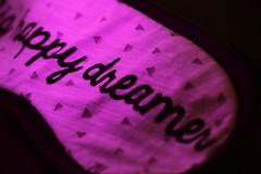 Dreamer... (Maria Godfrida) Tags: macro macromondays relaxation sleepingmask dreamer happy dream sleep hmm mm closeup violet purple lila 7dwf letters words