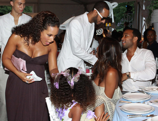 Alicia Keys (L), Swizz Beatz (back), John Legend (R), Chrissy Teigen (2nd R) and Aoki Lee Simmons by PARTYZONEUSA