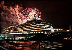 Queen Victoria and the Fireworks (LesAuld) Tags: liverpool fireworks cunard queenvictoria mersey clf