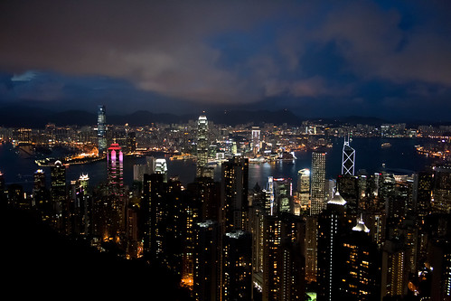 Hong Kong night skyline from the peak