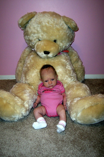 Ella & bear @ 1 month