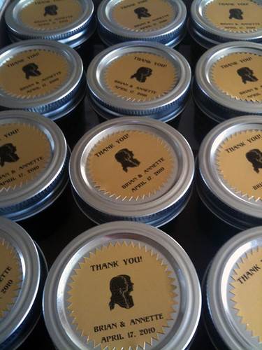 Labels on homemade jam, wedding favors