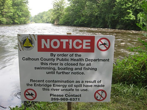 Kalamazoo River oil spill sign photo