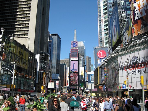 A packed Time Square during lunch hour