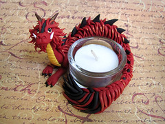 Asian Dragon Candle Holder (DragonsAndBeasties) Tags: china red black cute crimson japan scarlet asian fire japanese gold wings asia candle dragon tea sweet burgundy chinese polymerclay fimo fantasy scales kawaii sculpey serpent etsy ruby custom magical tealight claws tusks mythical premo votiveholder cccoeteam