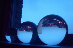 oh balls (redjoe) Tags: blue reflection building window glass ball lights evening washingtondc dc orb windowsill glassball bals redjoe joehorvath