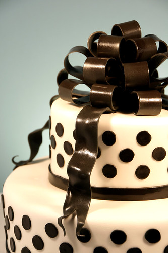 Black and White Polka Dot Wedding Shower Cake - detail