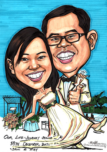 Wedding couple caricatures @ Changi Village Hotel A4