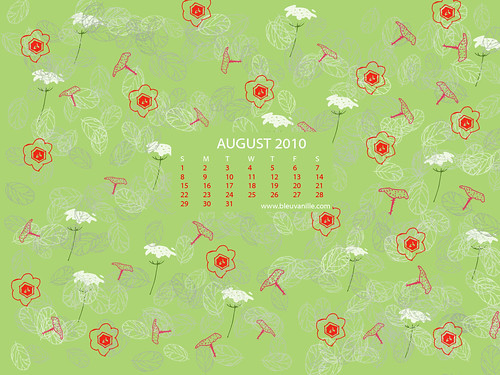 August 2010 Calendar Wallpaper With Wild Flowers