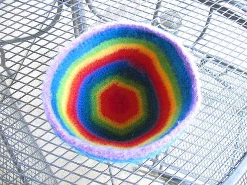 My felted rainbow bowl