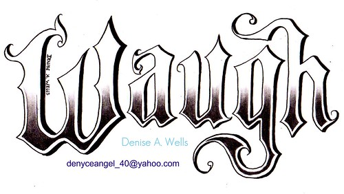 Old English Tattoo Design by Denise A. Wells. Showing a range of Lettering