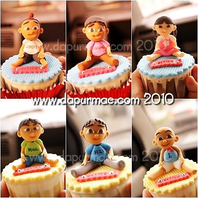 Upin Ipin Cupcakes w/ 3D Figures