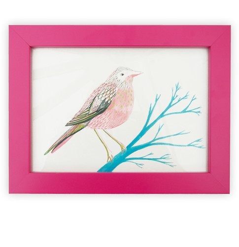 Pink Bird Framed Original Drawing
