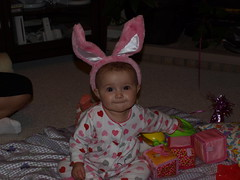 Gabriela. Play boy? jk. jk. jk. (Lordoftheukes) Tags: baby cute bunny smile play time adorable grin playboy cheesey spoiled