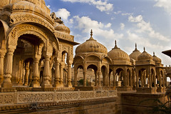 Royal Cenotaphs of Jaisalmer (DavidHart) Tags: sunset sky india clouds memorial bluesky jaisalmer cenotaphs anawesomeshot theunforgettablepictures vanagram royalcenotaphs