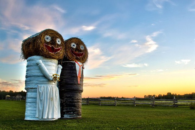 Hay Bale Bride and Groom