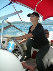 Aunt G driving the boat