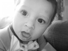Childlike (ashleycamo) Tags: blackandwhite baby curious sibling beautifuleyes childlike