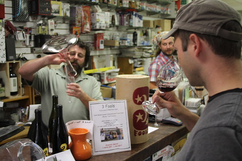 Sampling wine and spreading the word in Corvallis Brewing Supply.