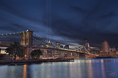 Brooklyn Bridge - 9/11 Memorial Lights (DiGitALGoLD) Tags: new york bridge light brooklyn night lights nikon memorial long exposure shot manhattan worldtradecenter 911 9 twintowers nikkor f28 hdr d3 victims tributeinlight september11th 2010 2470mm 2470