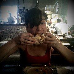 Alexis vs. Fried-duck-egg taco (thirtyoneteeth) Tags: alexis brooklyn taco bushwick robertas flybutter