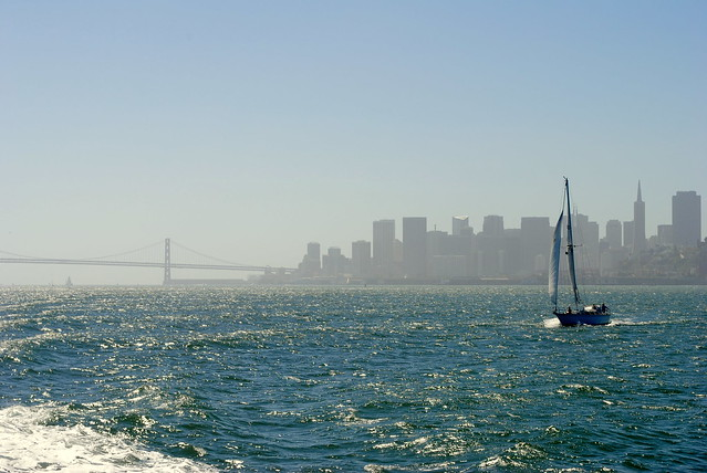 Bay Bridge, SF, and sailboat