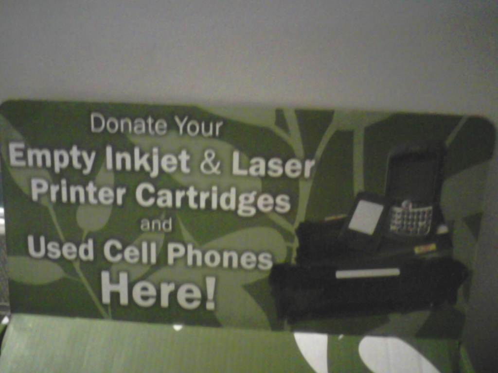 Donating cell phones, and printing cartridges
