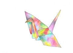 * (Daniela Dahf Henríquez) Tags: origami colores pajarito ilustración lapicesdecolores papelfabriano danielahenríquez dahf piduca pleasedonotusemyimageswithoutmypermissioninyourtumblr
