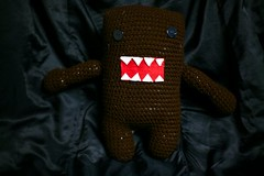 Domo Kun (FullCircleHandmade) Tags: red white black cute monster circle eyes doll arms handmade crochet full poop domo angry button etsy amigurumi kun