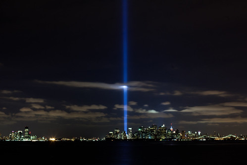 World Trade Center lights NYC sky on 9th by NYCMarines, on Flickr