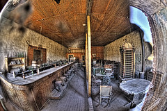 Bodie ghost town saloon, Fish Eye Lens. HDR. (Randy Weiner Photography) Tags: old fish eye abandoned bar visions mono neglected fisheye forgotten harmony ghosttown bodie omg stg saloon topaz throughthelookingglass oldwest forlorned leftbehind photomatix bodiecalifornia artdigital diamondclassphotographer flickrdiamond canoneos5dmarkii photoshopcs4 rubyphotographer reflectionslovers exoticimage photographedthroughwindow