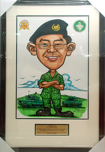 Caricature for SIngapore Armed Forces with gold metal plate engraving in frame