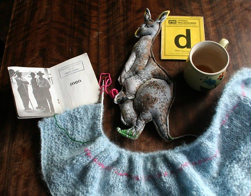 men, rose the kangaroo, the rug in progress and I think I'd like another cup of coffee please