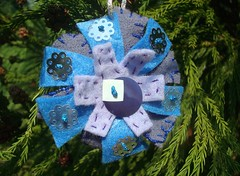 Felt snowflake (KreinikGirl) Tags: snowflake christmas snow thread embroidery metallic felt ornament holographic kreinik
