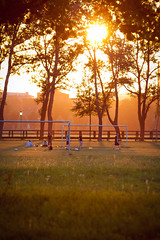 Pegnitzgrund Nrnberg (SpechtPhotodesign) Tags: bridge sunset sun sport warm fussball soccer wiese brcke summerfeeling sommertag