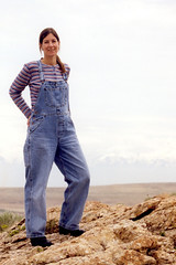 Me in my dungarees on Antelope Island (Pondspider) Tags: usa lake america island utah us great salt antelopeisland greatsaltlake antelope anneroberts annecattrell pondspider