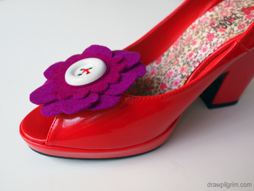 felt flower red shoes